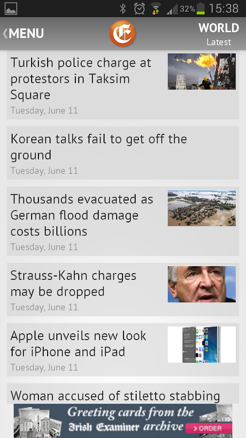 Irish Examiner- screenshot
