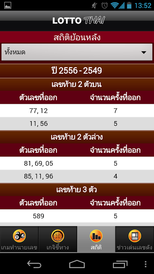 Lotto Thai - screenshot