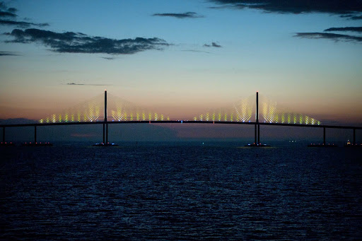 The Sunshine Skyway Bridge in Tampa Bay, Florida, acts as the gateway to many Caribbean cruises.