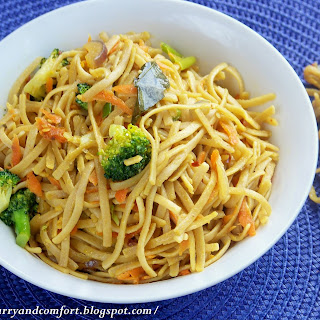 Asian Fusion Stir Fried Noodles and Vegetables.
