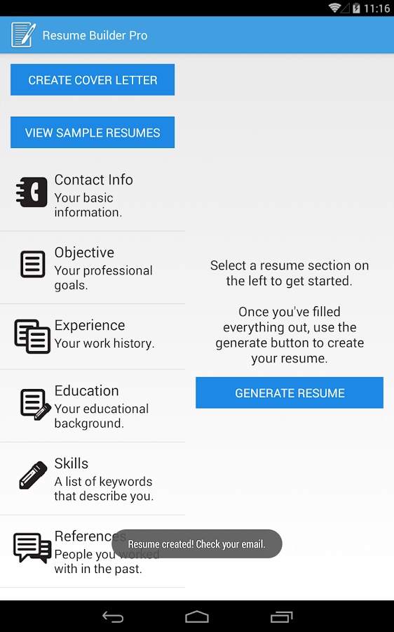 resume builder pro screenshot - Google Resume Maker