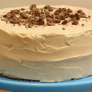 Pecan-Espresso Birthday Cake with Coffee Icing.