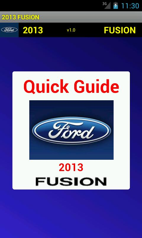 Quick Guide 2013 Ford Fusion - screenshot
