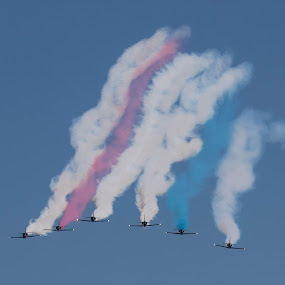 Red, White & Blue  by Dory Formiller - Transportation Airplanes ( red, airplane, white blue, smoke, blue angels, six, airshow )