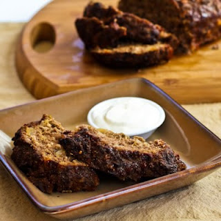 Horseradish Meatloaf with Caramelized Onions and Sour Cream-Horseradish Sauce.