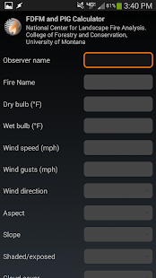 Fire weather calculator- screenshot thumbnail