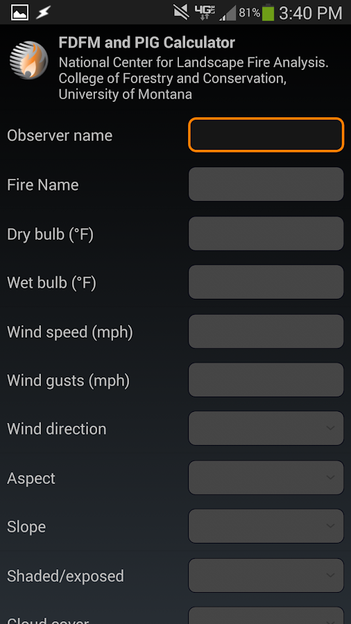Fire weather calculator - screenshot