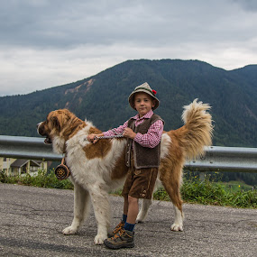 Walking the Boy by Eva Lechner - Babies & Children Children Candids ( south tyrol, walking, dog, italy, boy,  )
