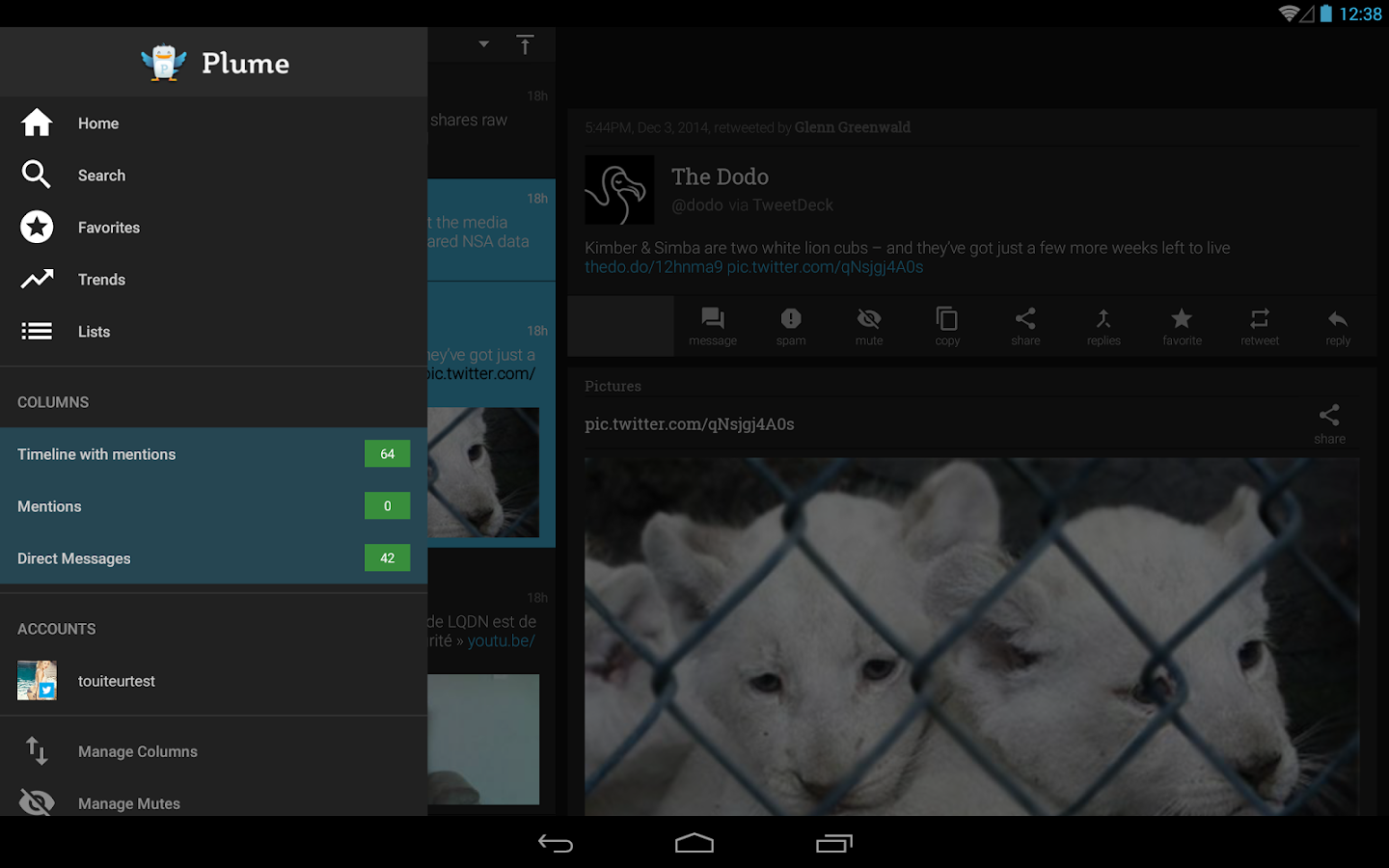 Plume for Twitter: captura de pantalla