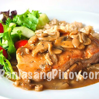 Slow Cooked Pork Chop with Mushroom Gravy.