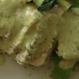 HOT Swordfish with COOL Coconut Avocado Cream Sauce.