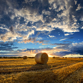 Hungarian skies pt.173. by Zsolt Zsigmond - Landscapes Prairies, Meadows & Fields ( clouds, backlit, hdr, shadow, sunset, hay, bales, cloudscape, widescreen, scenery, panorama,  )