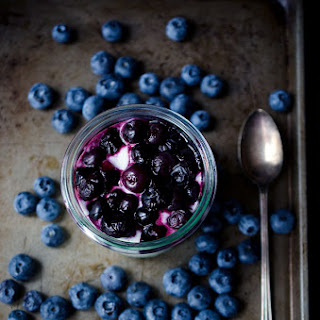 Goat Cheese Mousse with Roasted Blueberries.