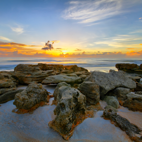 Sunrise Florida by Scott Helfrich - Landscapes Sunsets & Sunrises ( clouds, canon, beautiful, skywatch, sea, winner, yellow, beach, sun, scotthelfrichphotography, red, nature, color, florida, pink, sunrise, surf, rocks, floridascape )