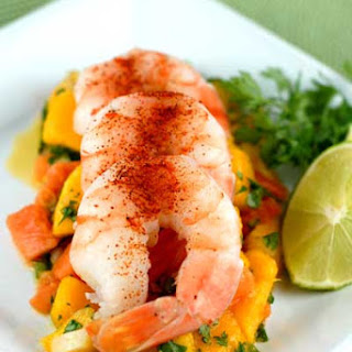 Gluten Free Cold Shrimp with Tropical Fruit Salsa.