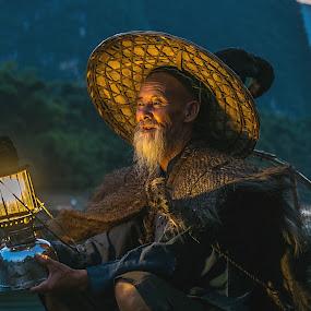 Li River Fisherman  by Shalabh Sharma - People Professional People ( yangshuo, li river, fisherman, guilin, guangxi, china )