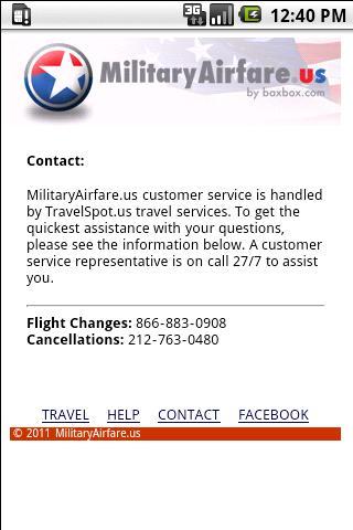 MilitaryAirfare.us- screenshot