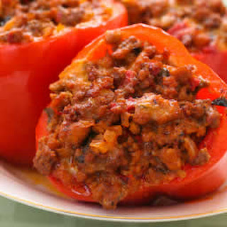 Phase One Stuffed Peppers with Turkey Italian Sausage, Ground Beef, and Mozzarella.