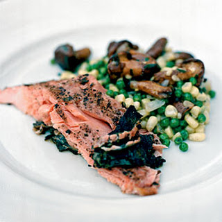 Grilled Sockeye Salmon with Fava Bean, White Corn, and Wild Mushroom Succotash