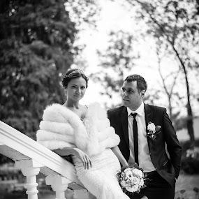 look at me by Jovan Barajevac - Wedding Bride & Groom ( sremski karlovci, b&w, novi sad, smoking, dress, wedding, bride, groom, flower,  )