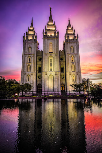 The Temple by Givanni Mikel - Buildings & Architecture Places of Worship ( temple, sunset, salt lake, trees, mirror pond,  )