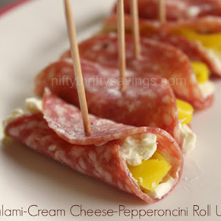 Salami-Cream Cheese-Pepperoncini Roll Ups