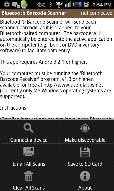 Bluetooth Barcode Scanner - screenshot