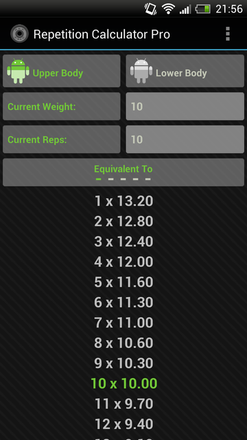 Rep Calc Pro (1 Rep Max) - screenshot