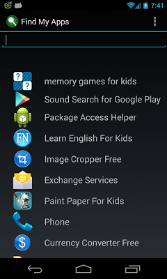 applications search - screenshot
