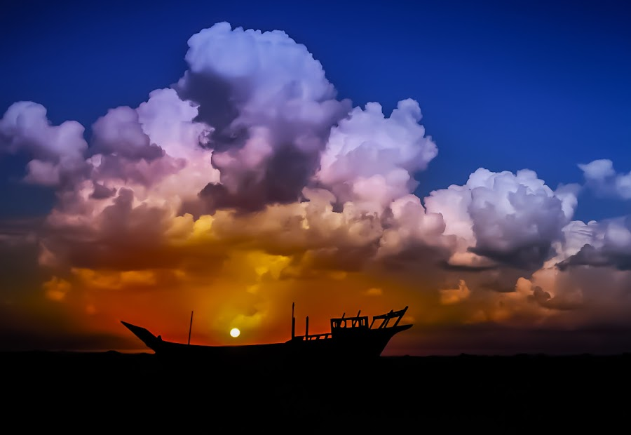 Angry Sky by Nabeel Madarati - Landscapes Sunsets & Sunrises ( landscape, beach, color, colors, portrait, object, filter forge, silhouette, water, device, transportation )