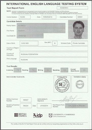 IELTS TOEFL Certificate