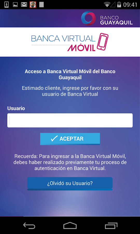 Banca Virtual Móvil- screenshot