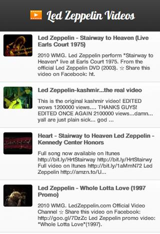Led Zeppelin Videos - screenshot
