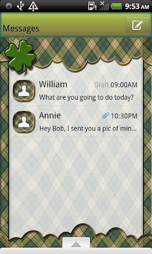 GO SMS THEME ShamrockPlaid4U