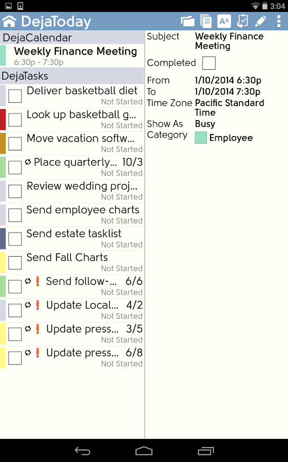 DejaOffice CRM - Outlook sync - screenshot