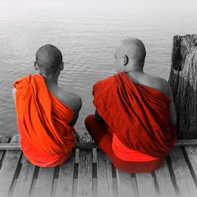 Monks by Elliot Moore - People Street & Candids ( mandalay, monks, u bein,  )