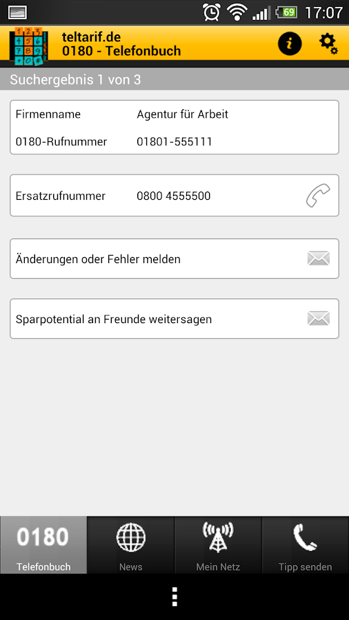 0180-Telefonbuch- screenshot