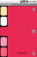 Screenshot of List of Colors Lite