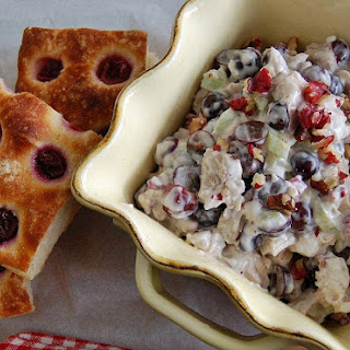 Red Walnuts+ Red Grape Chicken Salad on Grape Focaccia.
