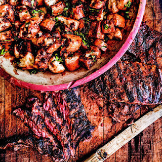 Grilled Skirt Steak With Barbecued Bread Salad From 'The Big-Flavor Grill'