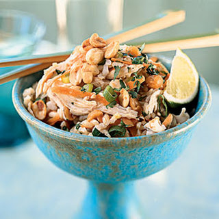 Sesame Brown Rice Salad with Shredded Chicken and Peanuts.