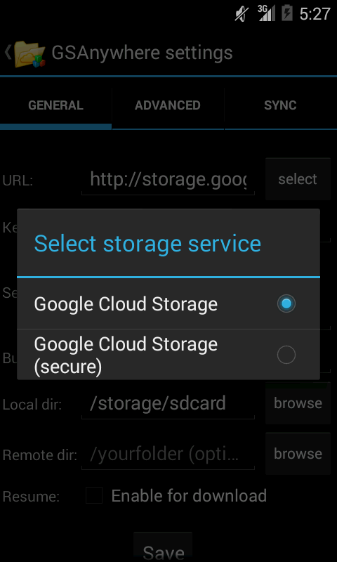 GSAnywhere (Cloud Storage)- screenshot