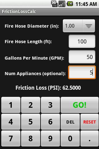 FrictionLossCalc- screenshot