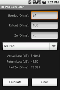 RF Pad Calculator screenshot 1