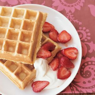 Multigrain Ricotta Waffles with Strawberries and Yogurt