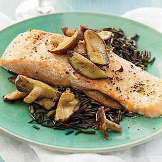 Salmon with Shiitake and Red Wine Sauce.