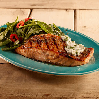 Tim Love's Grilled Salmon with Creamy Cucumber Dressing.