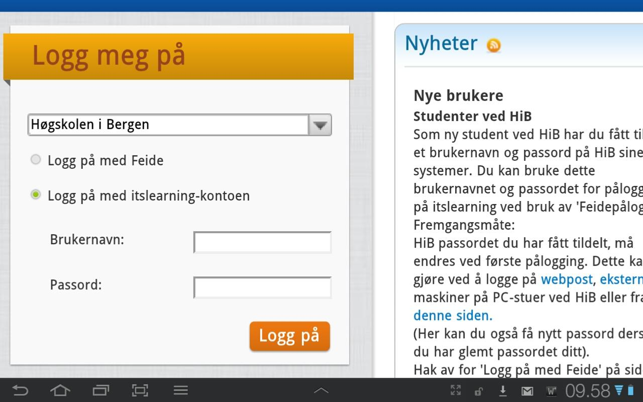 itslearning HIB - screenshot