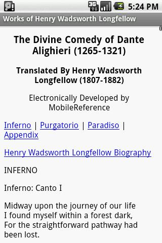Works of Henry Longfellow - screenshot