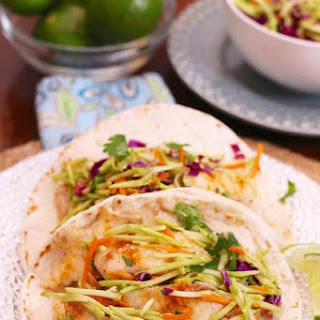 Fish Tacos With Sweet Curried Broccoli Slaw For One